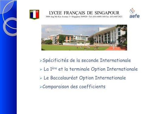 Serie Ecrit Oral Total - Lycée français de Singapour