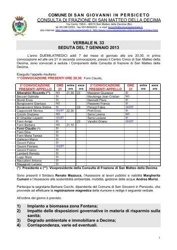 Verbale della Consulta del 7 gennaio 2013 - Comune di San ...