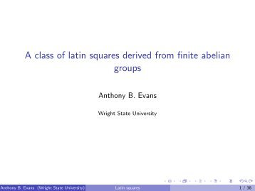 A class of latin squares derived from nite abelian groups