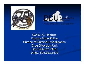 Pharmaceutical Drug Diversion Unit - Virginia Department of Health ...