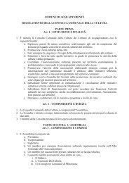 regolamento della consulta comunale della cultura - Comune di ...