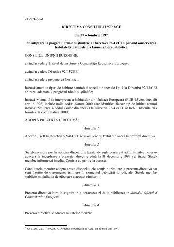 31997L0062 DIRECTIVA CONSILIULUI 97/62/CE din 27 ... - AGVPS