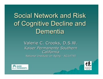 Social network and risk of cognitive decline and dementia - Soup