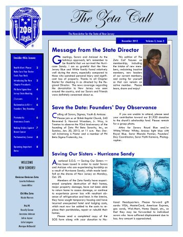 December 2012 - Zeta Phi Beta Sorority, Inc. - State Of New Jersey