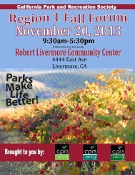 details - California Park and Recreation Society