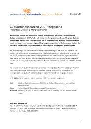 Cultuurfondsbeurzen 2007 toegekend - Prins Bernhard Cultuurfonds