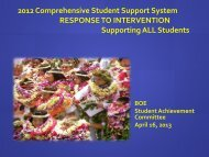 2012 Comprehensive Student Support System RESPONSE TO ...