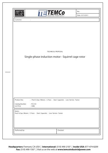 Single-phase induction motor - Squirrel cage rotor - TEMCo ...