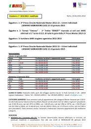Oggetto n. 1: 3^ Prova Circuito Nazionale Master 2012-13 – 6 Armi ...
