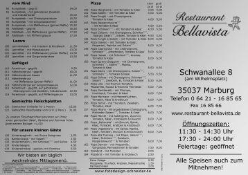 Schwanallee 8 35037 Marburg - Restaurant Bellavista