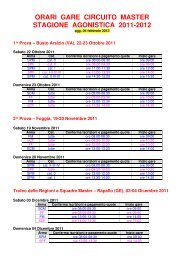 orari gare circuito master stagione agonistica 2011-2012