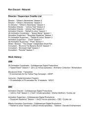 Ron Doucet - Résumé Director / Supervisor Credits List Work History