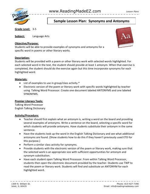 Antonyms & Synonyms - ReadingMadeEZ.com