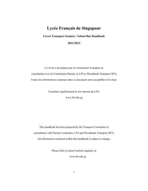 Terms and Conditions of Transport - Lycée français de Singapour