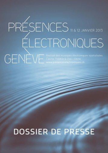 Dossier de presse (pdf) - Présences Electroniques Genève