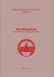 RED PREDAVANJA - KBF - Katolički bogoslovni fakultet, Sarajevo