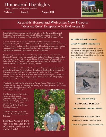 Homestead Highlights - Reynolds Homestead - Virginia Tech