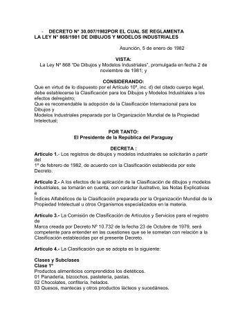 Decreto 30007-1882 Dibujos y Modelos Industriales