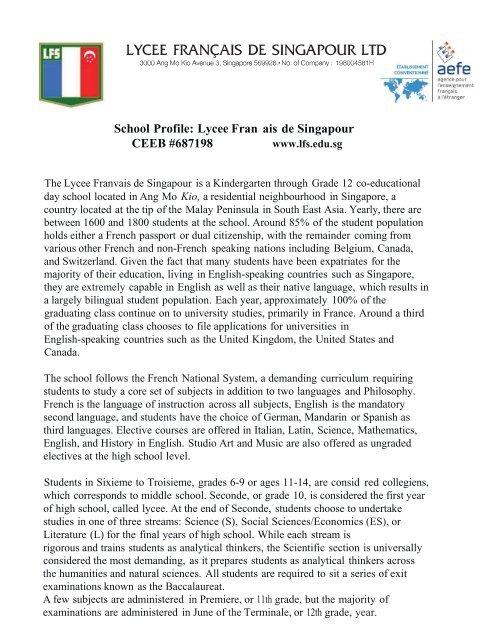 LYCEE FRANQAIS DE SINGAPOUR LTD - Lycée français de ...