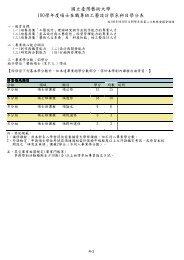 國立臺灣藝術大學100學年度碩士在職專班工藝設計學系科目學分表