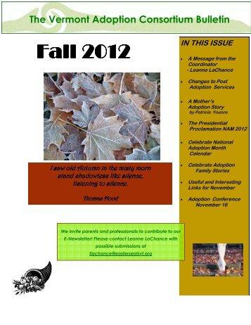 VAC newsletter FALL 2012 - Vermont Adoption Consortium