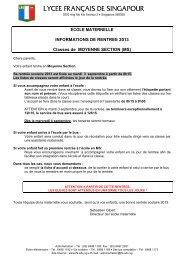 INFORMATIONS DE RENTREE EN MATERNELLE - Lycée français ...