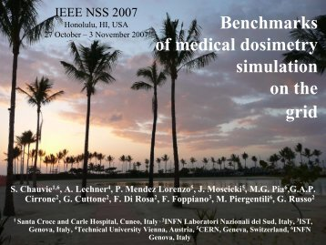 Benchmarks of medical dosimetry simulation on the ... - Geant4 - Cern