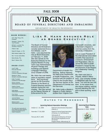 Fall 2008 Newsletter - Virginia Department of Health Professions