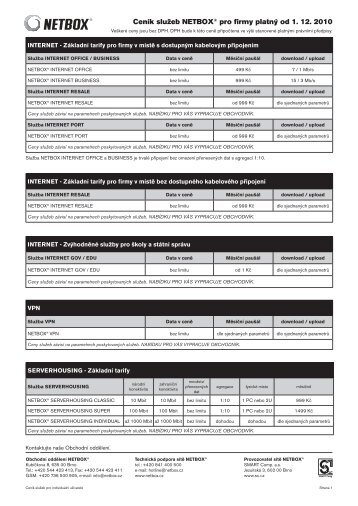 Ceník služeb NETBOX® pro firmy platný od 1. 12. 2010