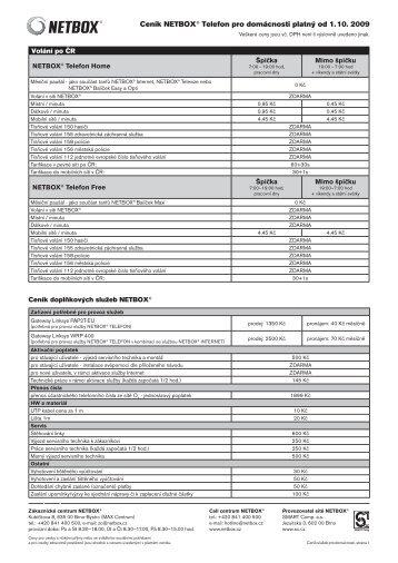 Ceník NETBOX® Telefon pro domácnosti platný od 1. 10. 2009