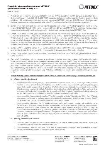 Podmínky věrnostního programu NETBOX platné od 1.3.2011