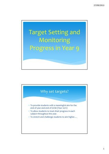 Target Setting and Monitoring Progress in Year 9