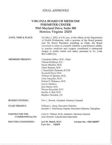 final approve virginia board of medicine perimeter center