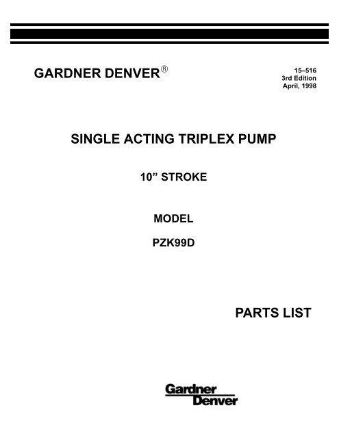 PZ 10 Parts Manual C B Pumps And Compressors