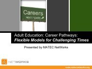Adult Education: Career Pathways: Flexible ... - MATEC NetWorks