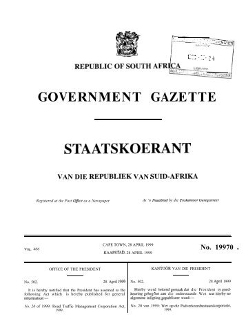 Road Traffic Management Corporation Act [No. 20 ... - Gauteng Online