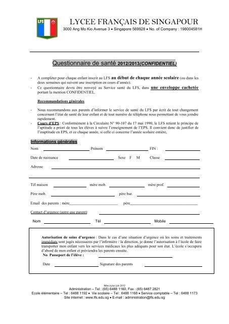 Questionnaire Santé - Lycée français de Singapour