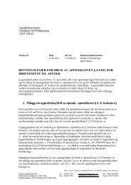 RETNINGSLINJER FOR BRUK AV APOTEKLOVEN § 2-8 OG FOR ...