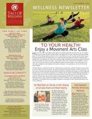 september 2008 wellness newsletter - Tao of Wellness