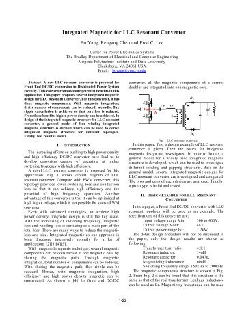 Integrated Magnetic for LLC Resonant Converter - CPES