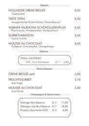 Dessertkarte - Restaurant Dressler