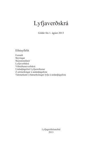 Lyfjaverðskrá ágúst pdf - Lyfjagreiðslunefnd