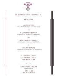 Saisonkarte - Restaurant Dressler