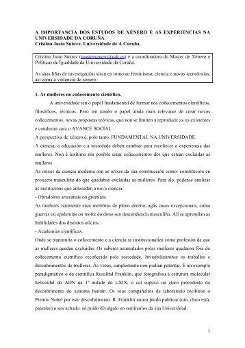 1 A IMPORTANCIA DOS ESTUDOS DE XÉNERO E AS ...
