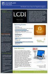 March Newsletter - Computer Forensics At Champlain College