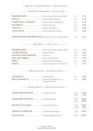 Weinkarte - Restaurant Dressler