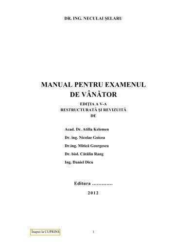 MANUAL PENTRU EXAMENUL DE VÂNĂTOR - AGVPS