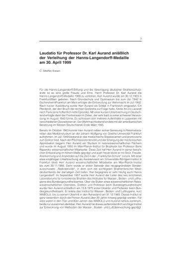 Laudatio für Professor Dr. Karl Aurand anläßlich der Verleihung der ...