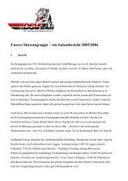 Unsere Skirenngruppe – ein Saisonbericht 2005/2006