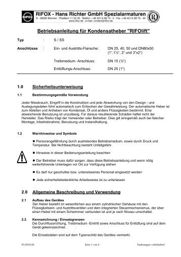 """Betriebsanleitung für Kondensatheber """"RIFOlift"""""""